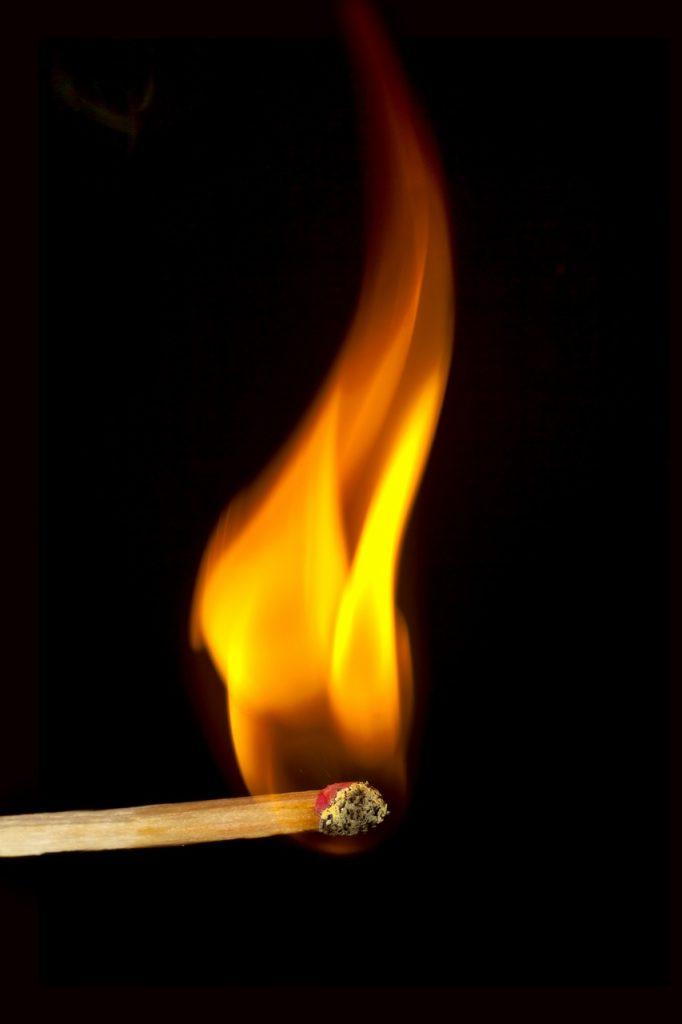 match, fire, close up